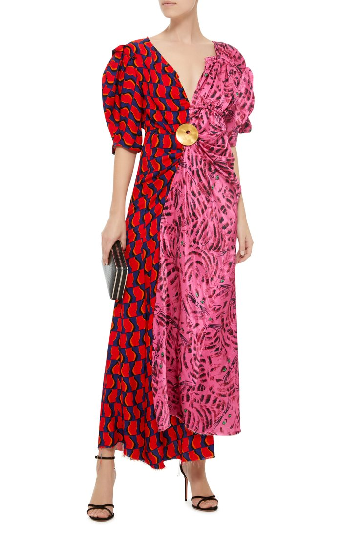 Joe Gathered Printed Satin Midi Dress