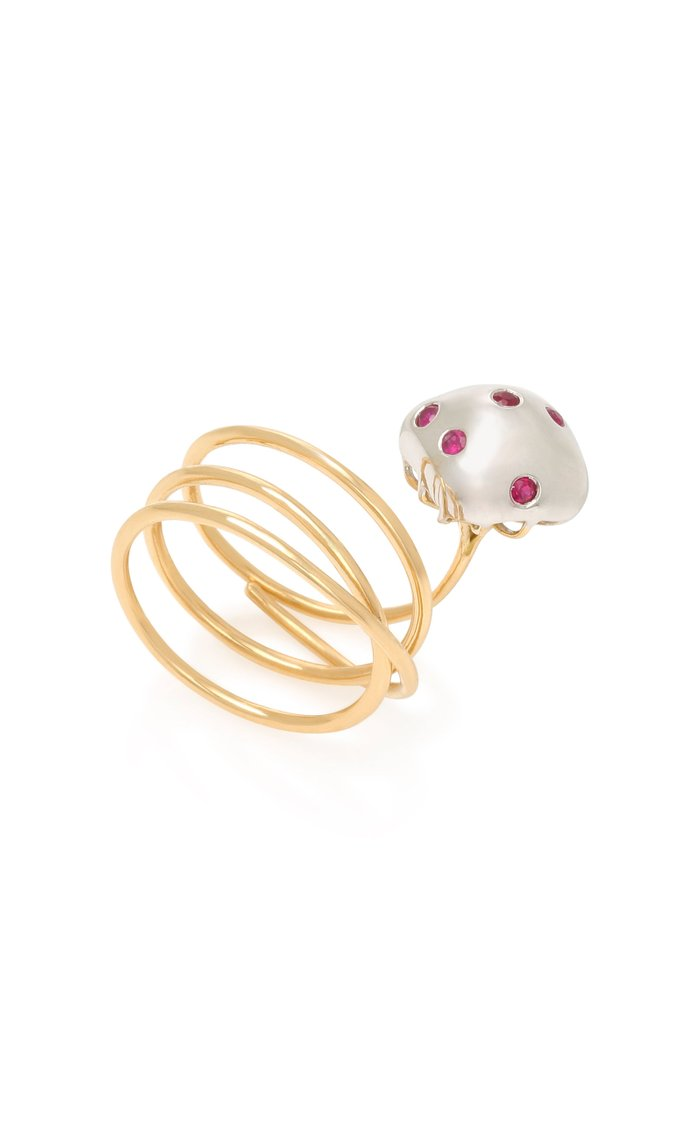 Mushroom 18K Gold and Ruby Ring