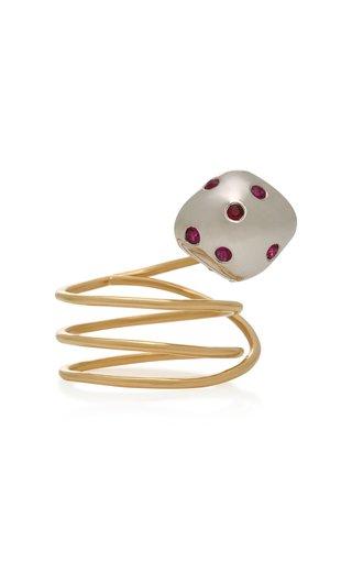 Mushroom 18K Gold and Ruby Ring