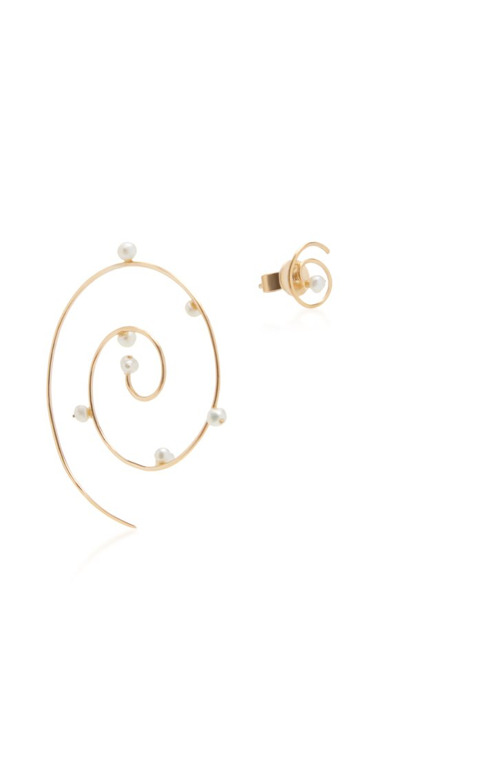 Dew on Tendril Spiral 18K Gold Pearl Earrings