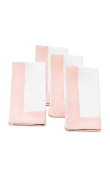 Set-Of-Four Two-Tone Linen Napkin Set