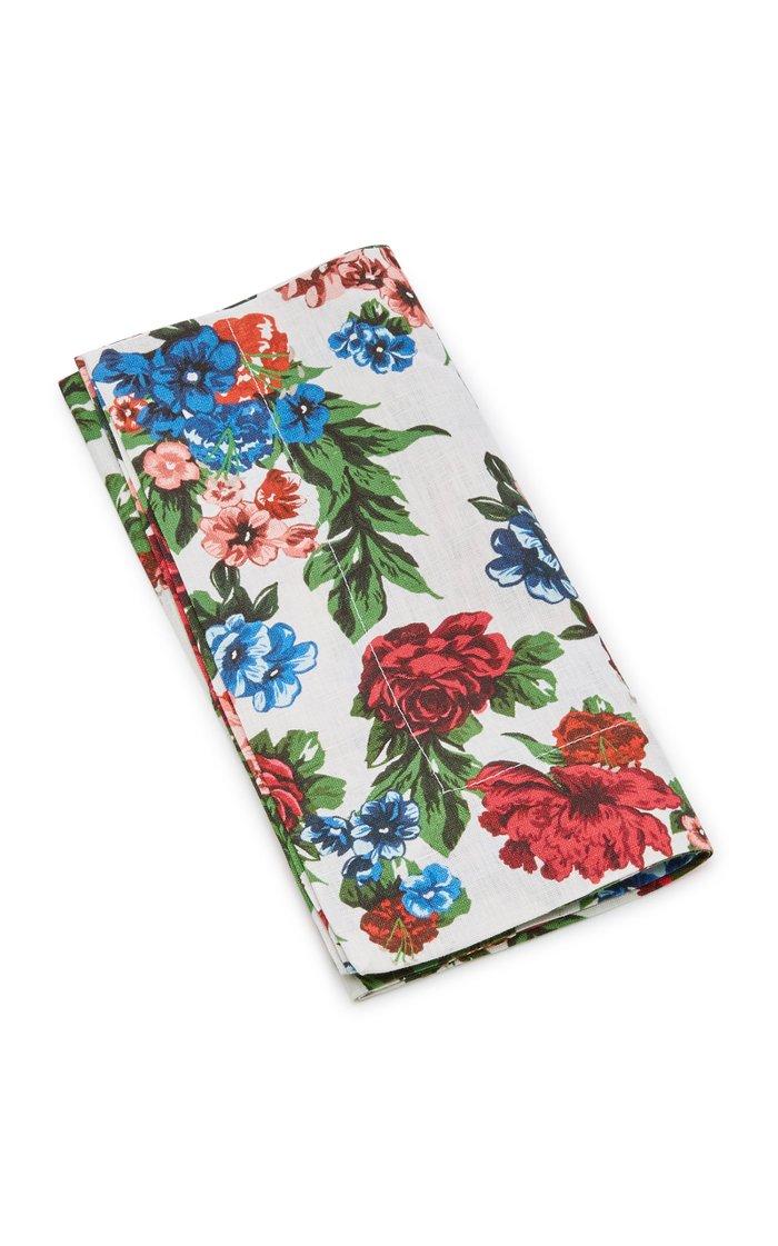 Set-Of-Four Floral Linen Napkin Set