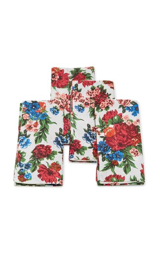 Set-Of-Four Floral Linen Napkin Set