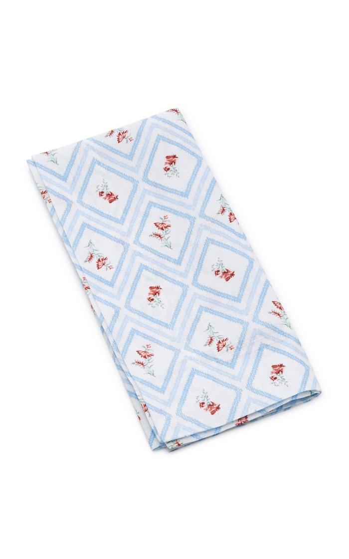 Set-Of-Four Blue Diamond Printed Linen Napkin Set