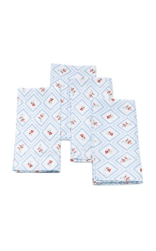 Set-Of-Four Blue Diamond Printed Linen Napkin Set