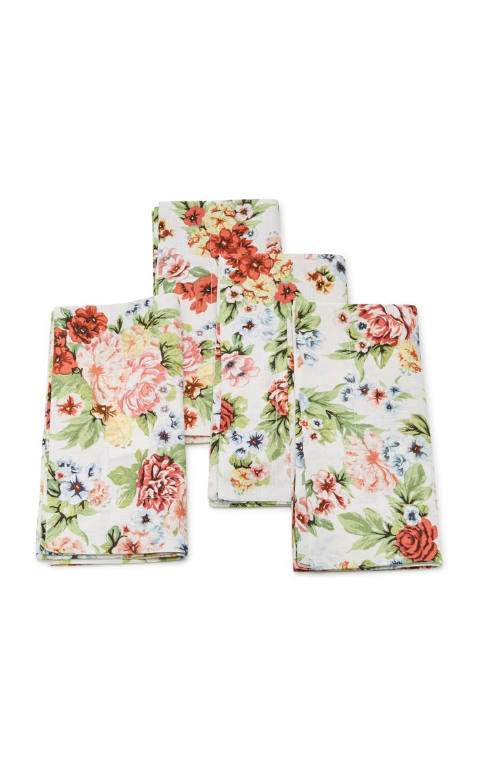 Set-Of-Four Light Floral Linen Napkin Set