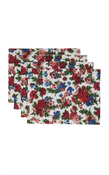 Set-Of-Four Floral Linen Placemat Set