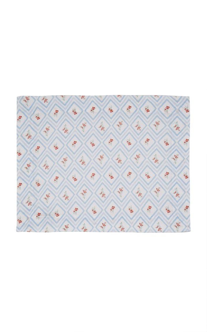 Set-Of-Four Blue Diamond Printed Linen Placemat Set