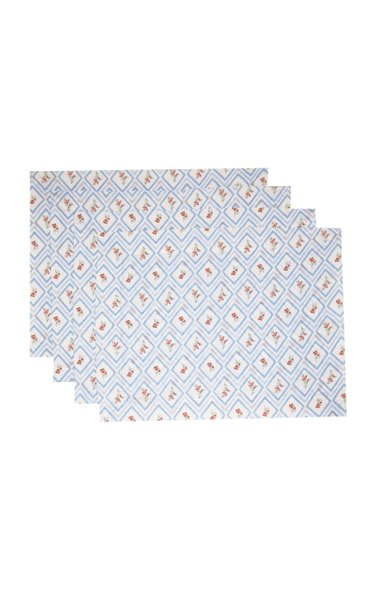 Set-Of-Four Blue Diamond Printed Linen Placemat Set