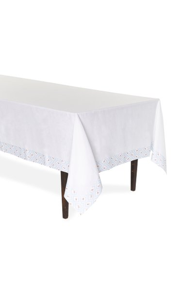 Blue Diamond Printed Linen Tablecloth