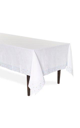 Blue Diamond Printed Linen Tablecloth