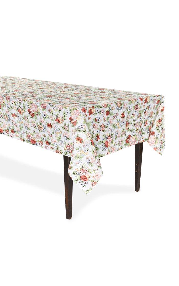 Light Floral Linen Tablecloth