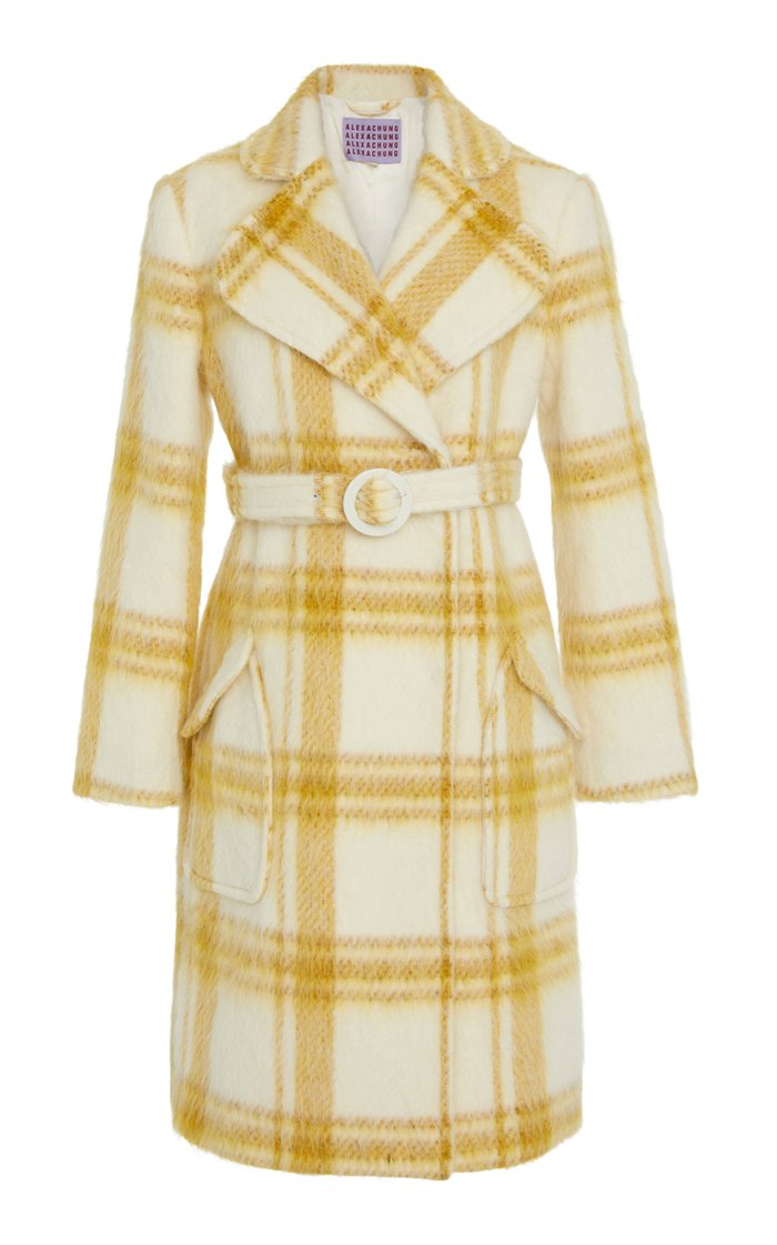Plaid Belted Wool-Blend Coat