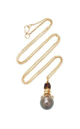Khepri 18K Rose Gold, Garnet And Pearl Necklace