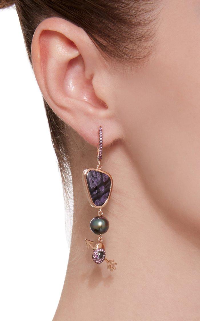 18K Rose Gold Multi-Stone Earrings