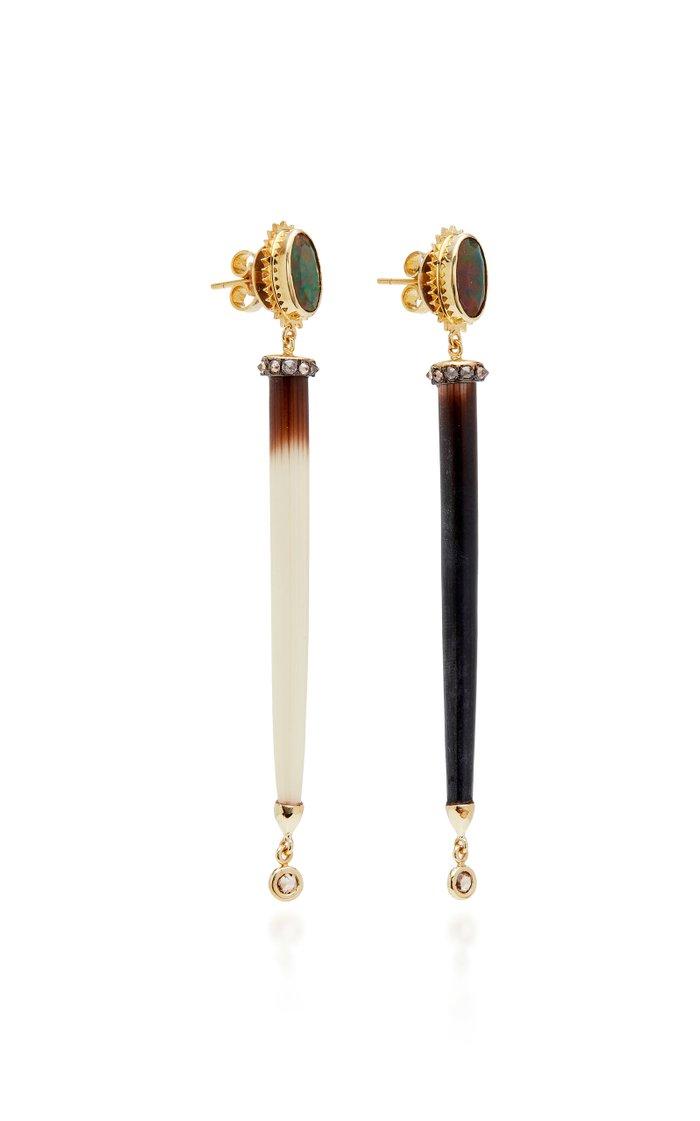 Porcupine 18K Rose Gold Enamel Earrings