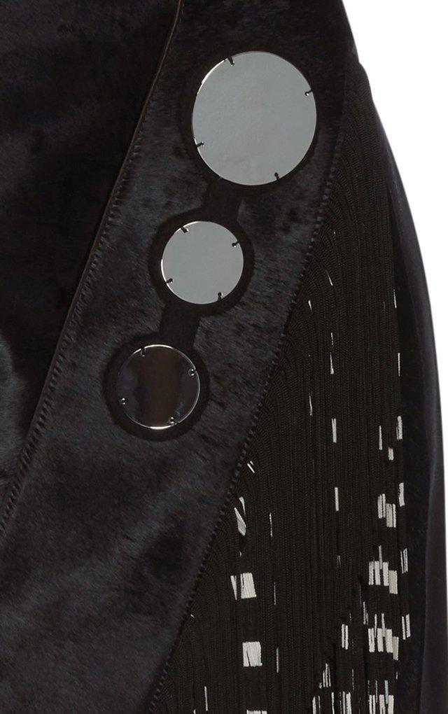 Printed Fringe Leather Dress