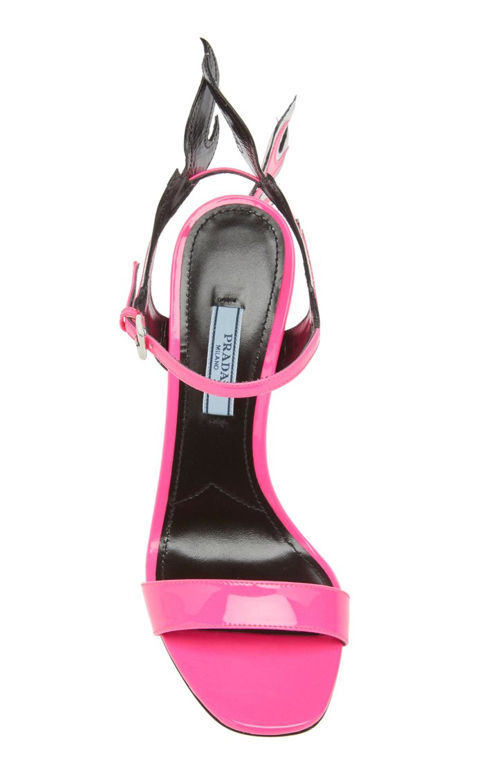 Flame Patent Leather Wedge Sandals