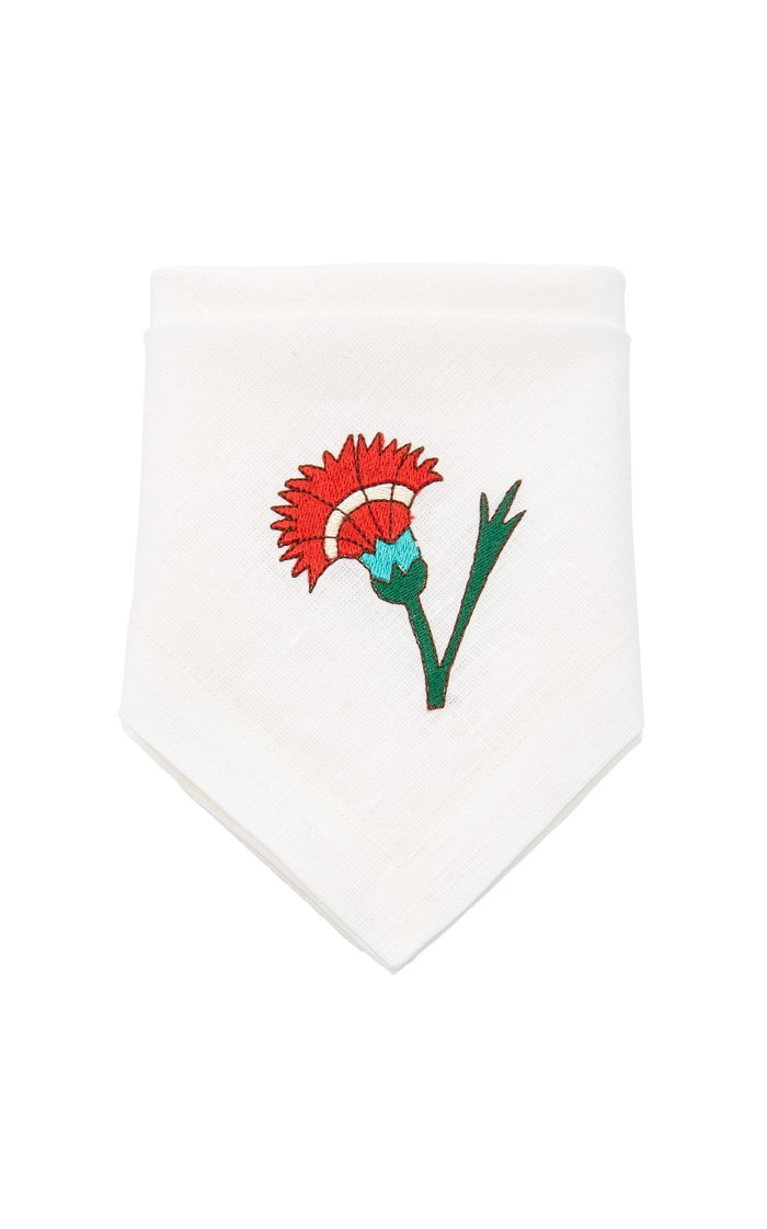 Exclusive Floral-Embroidered Set-of-Four Dinner Napkins