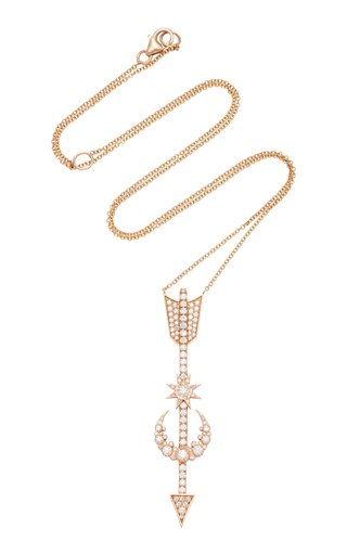 Arrow And Star 18K Rose Gold Diamond Necklace