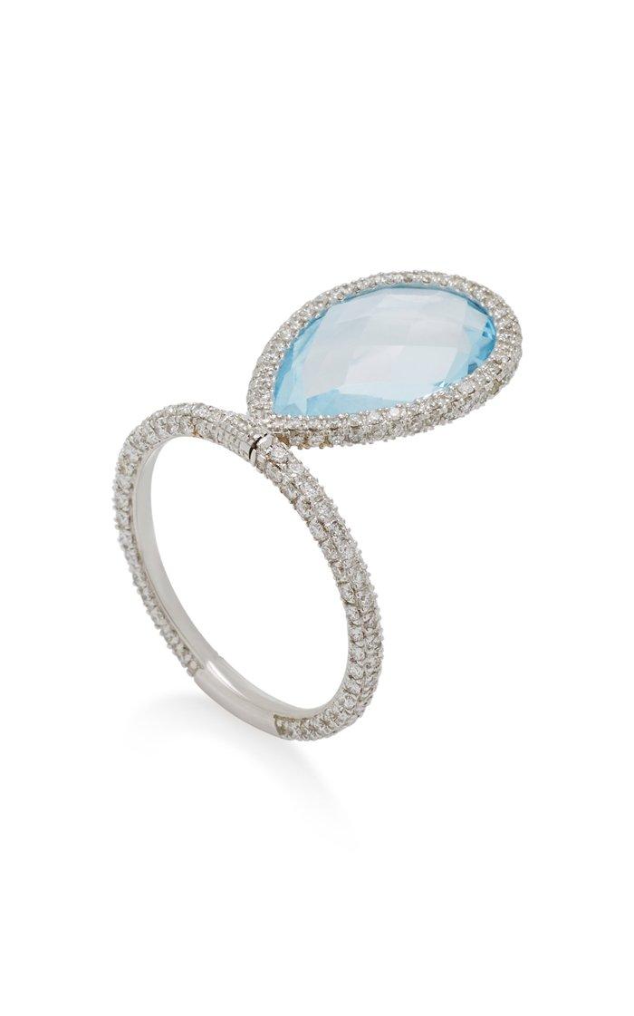 Large Blue Topaz and 18K White Gold Flip Ring