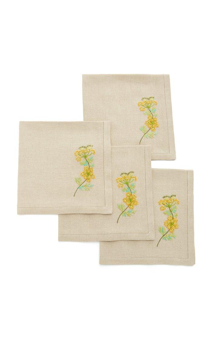 Set-Of-Four Fennel Embroidered Linen Napkins