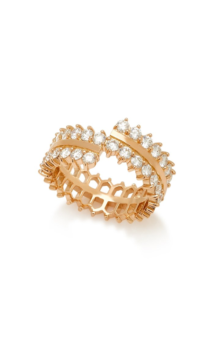 Double Full Lace 18K Rose Gold And Diamond Ring