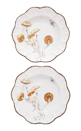 Set-of-Two Les Champignon Porcelain Soup Plates