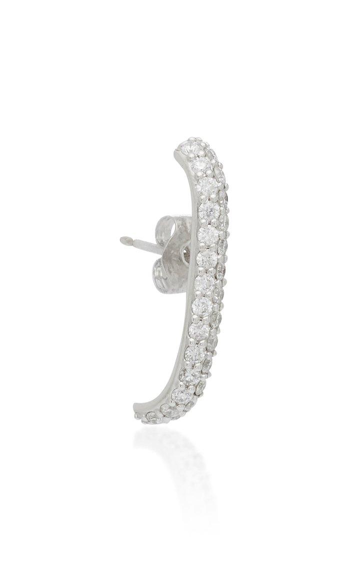 Megahuggy 14K White Gold And Diamond Earring