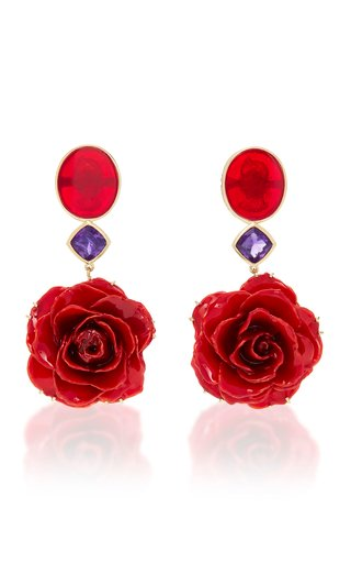 M'O Exclusive: One-Of-A-Kind Real Rose Earrings