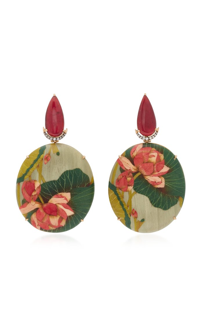 Marquetry Pink Flower Earrings