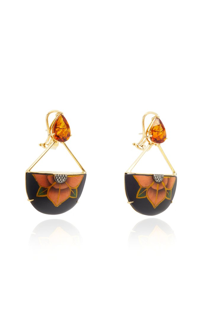 18K Gold, Marquetry, Citrine and Diamond Earrings