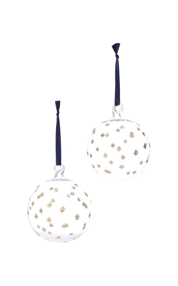 Set-Of-Two Starry Glass Ornaments