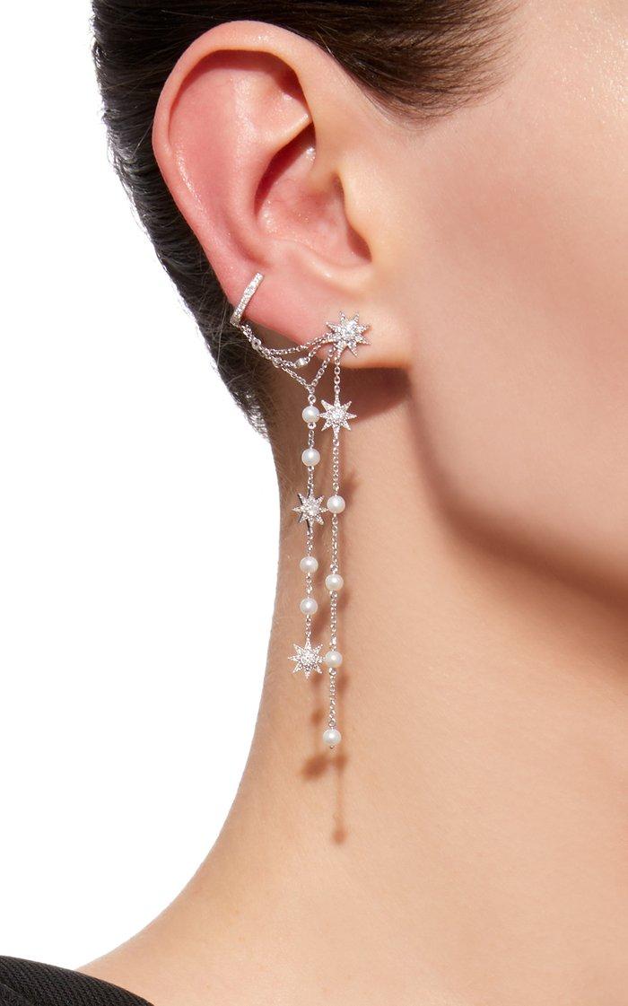 Star Dust 18K White Gold Diamond Earrings