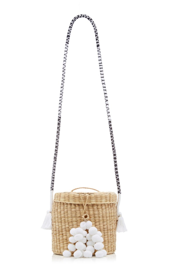 Ana Woven Bucket Bag With Threaded Strap