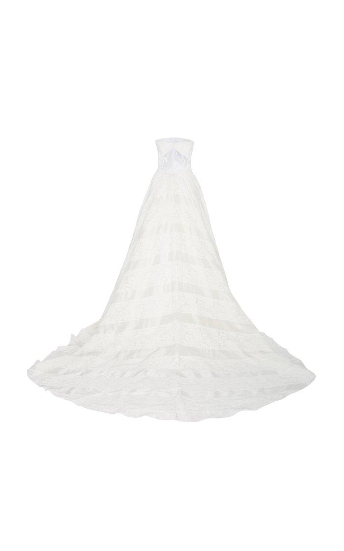 Hudson Lace Overlay Open-Back Silk Ballgown