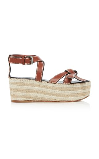 Gate Leather Espadrille Wedge Sandals