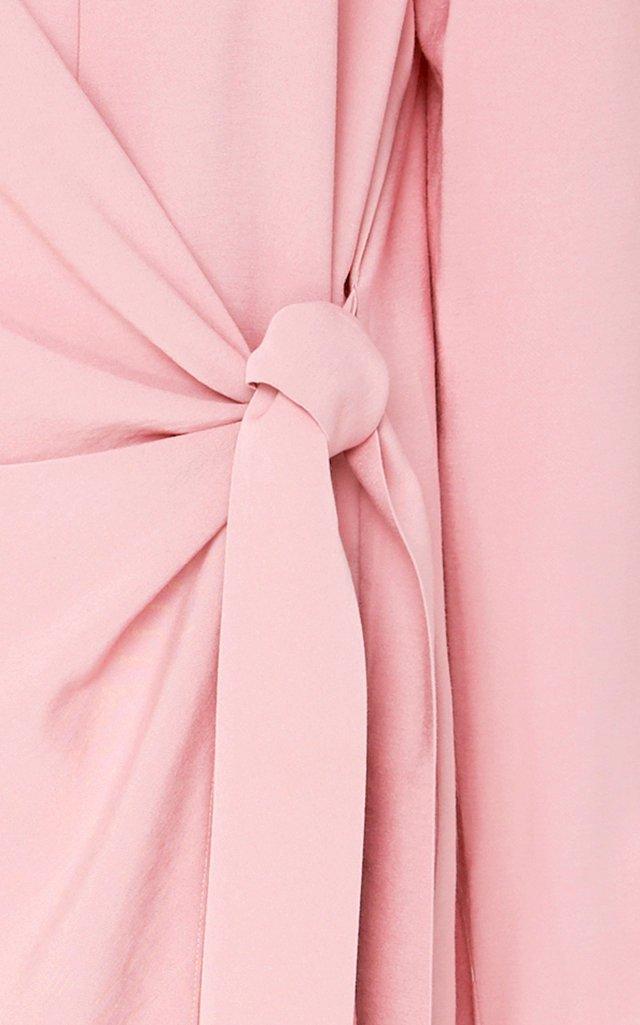 Tie-Front Asymmetric Midi Dress