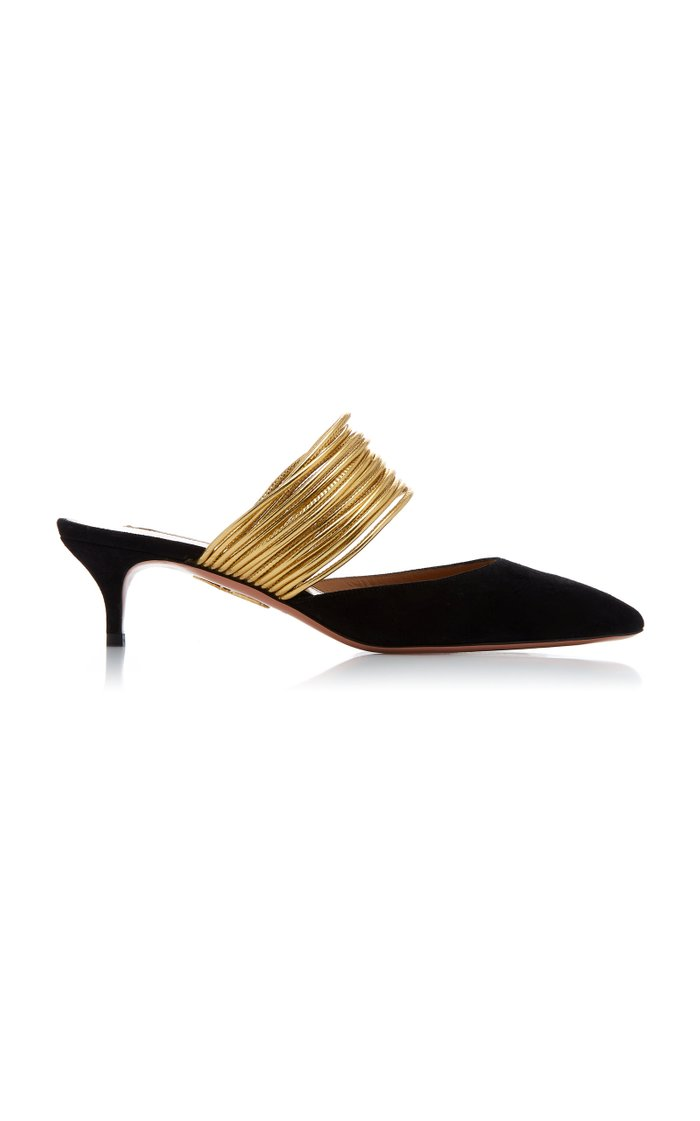 Metallic Cord-Trimmed Suede Mules
