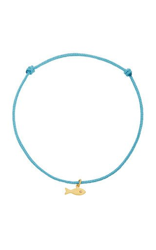 Diamond And 22K Gold Fish Charm Bracelet