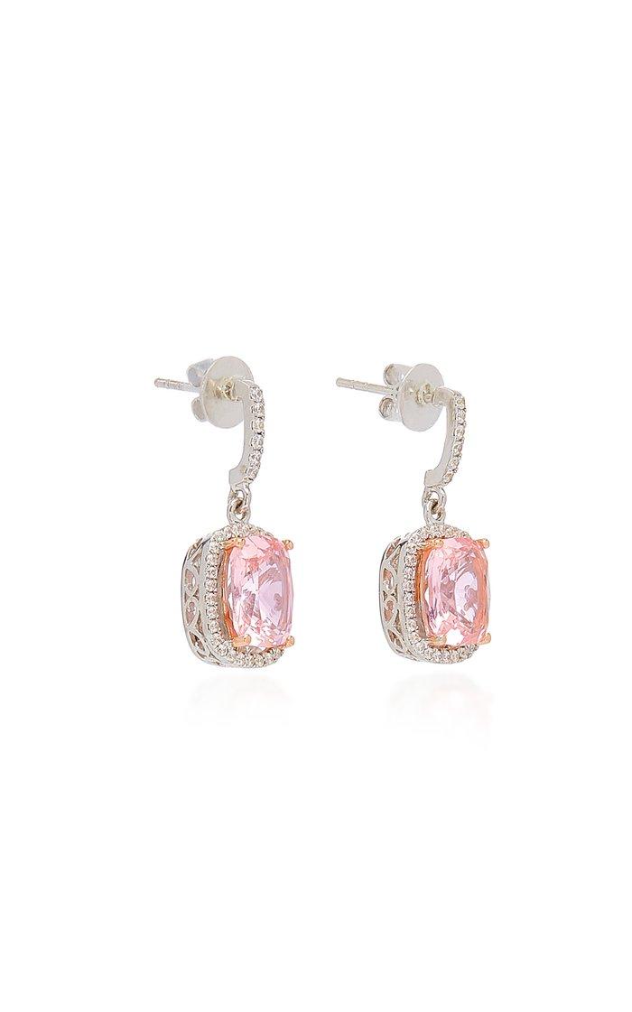 18K White Gold Vermeil, Morganite, And Diamond Earrings