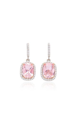 18K White Gold Vermeil, Morganite, And Diamond Earrings