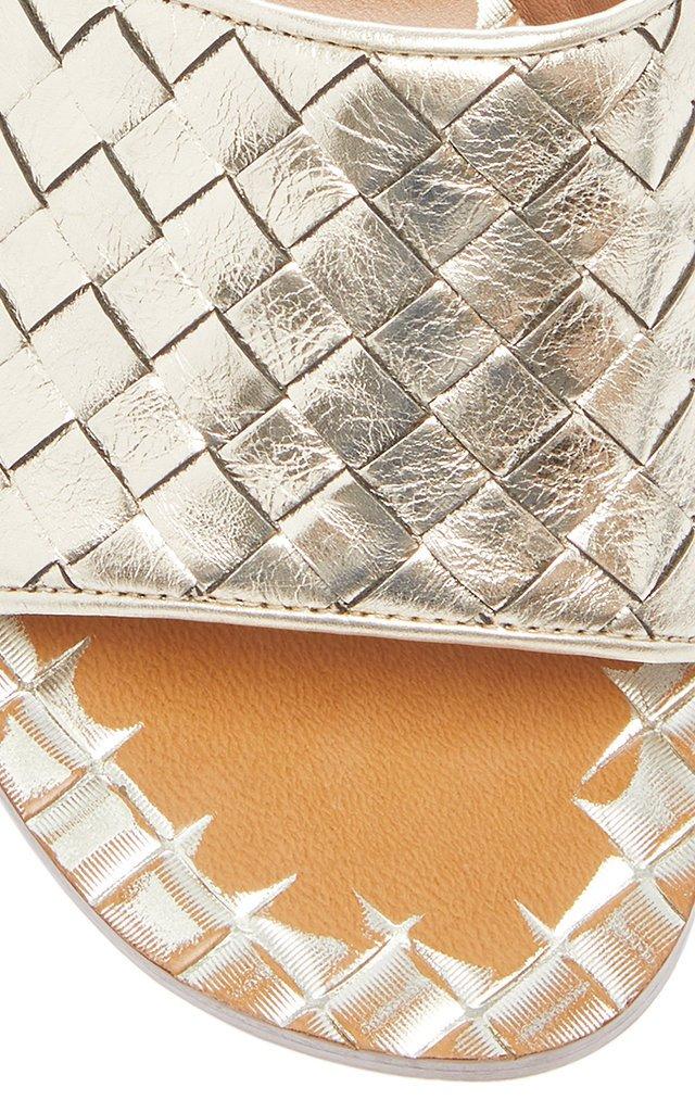 Ravello Metallic Intrecciato Leather Sandals