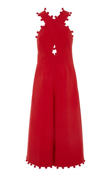 Exclusive Pom-Pom-Trimmed Cotton-Blend Halter Jumpsuit