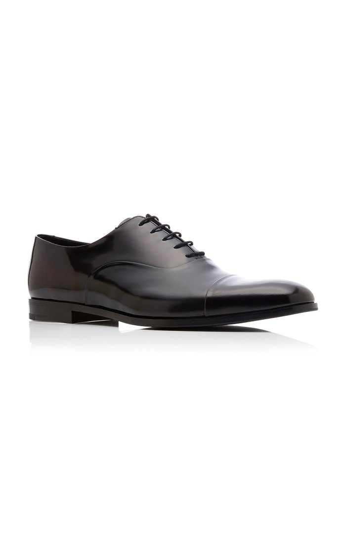 Spazzolato Fume Two-Tone Patent-Leather Dress Shoes