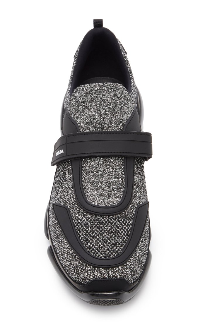 Two-Tone Stretch-Knit Sneakers