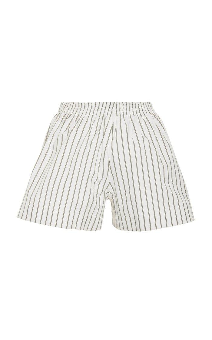 Striped Cotton-Canvas Shorts