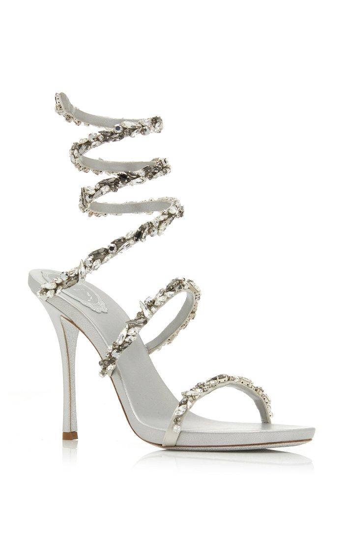 Crystal-Embellished Satin Snake-Coil Sandals