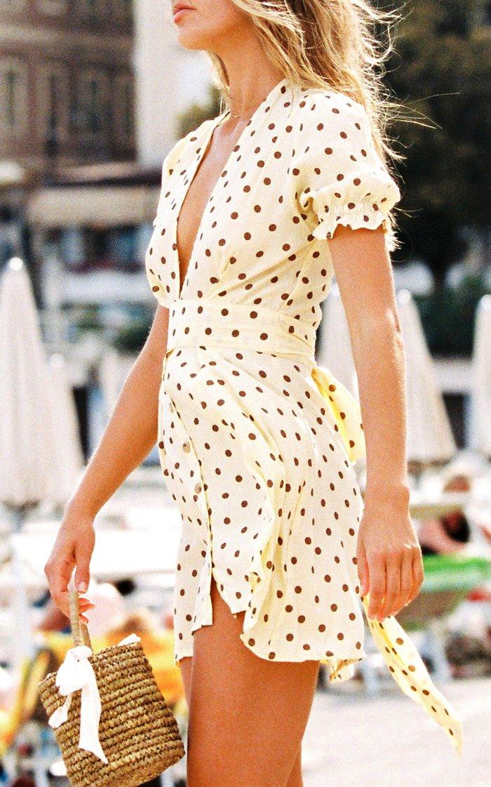 Vanelli Belted Polka-Dot Voile Mini Dress
