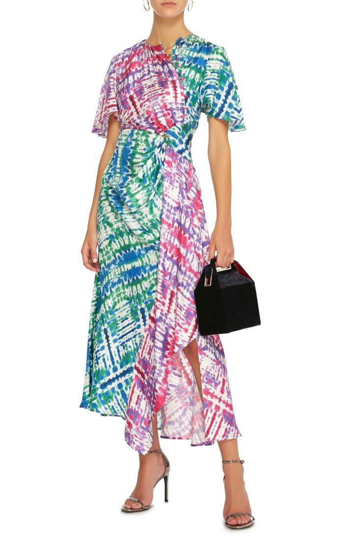 Tie-Dye Silk Asymmetric Midi Dress
